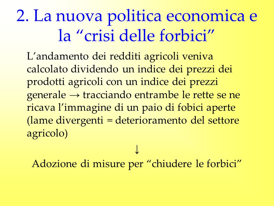 2. La nuova politica economica e la crisi delle forbici