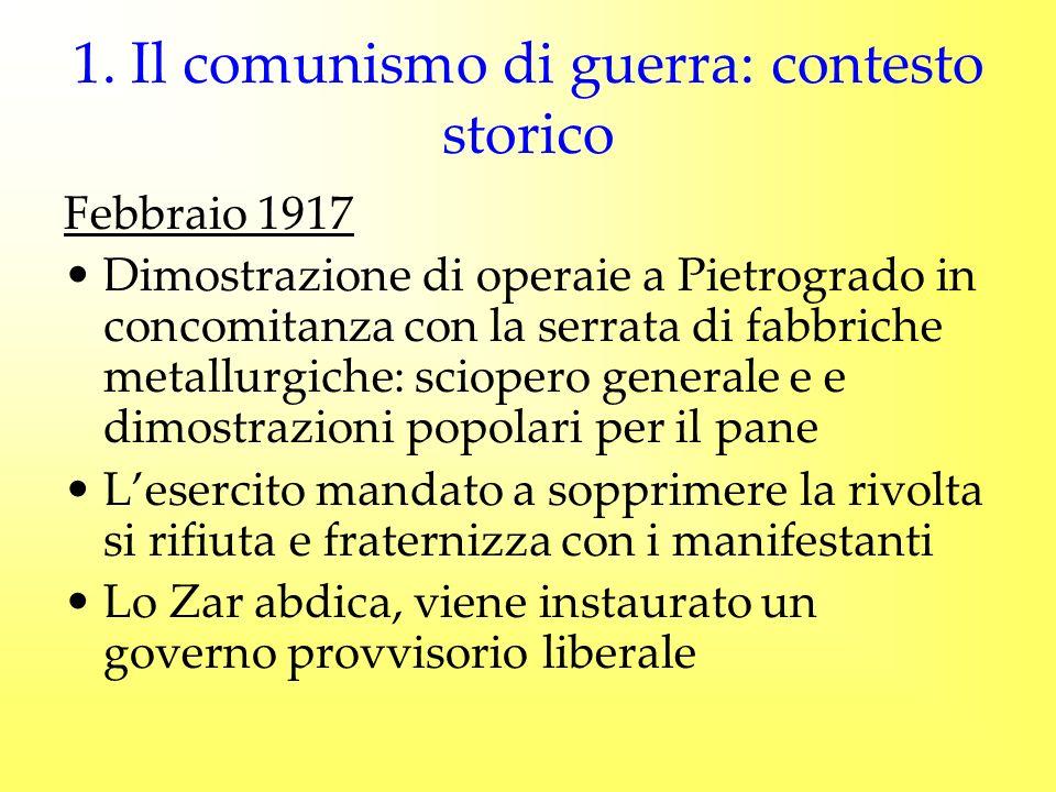1. Il comunismo di guerra: contesto storico