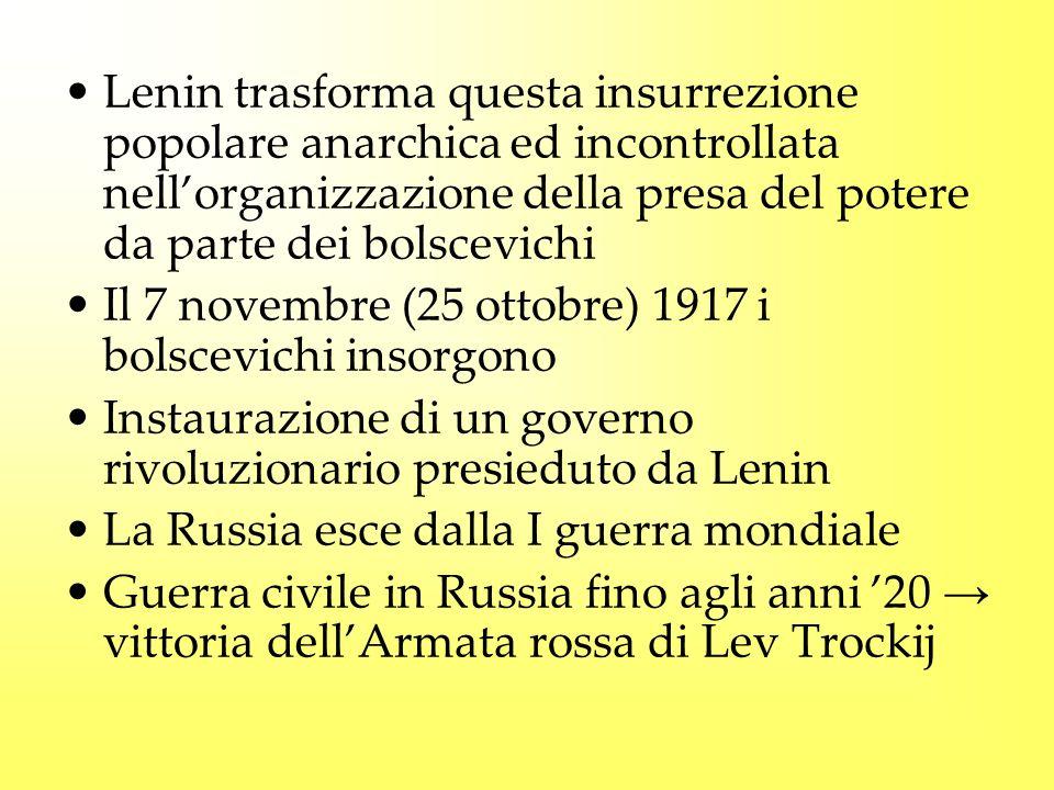 Lenin trasforma questa insurrezione popolare anarchica ed incontrollata nell'organizzazione della presa del potere da parte dei bolscevichi