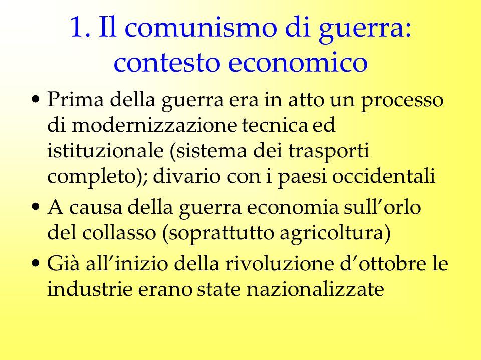 1. Il comunismo di guerra: contesto economico