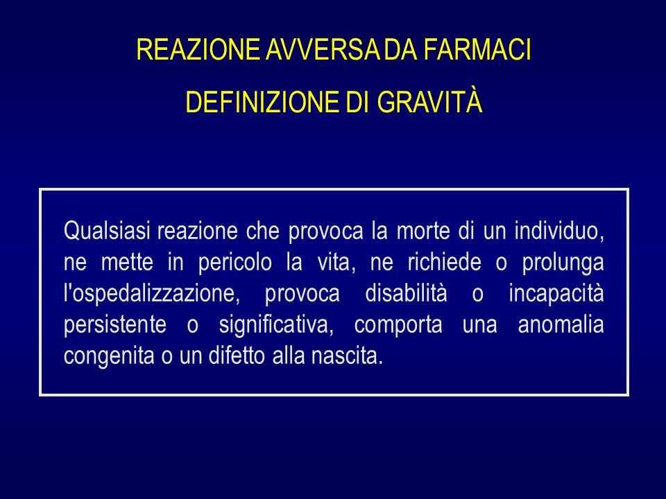 REAZIONE AVVERSA DA FARMACI DEFINIZIONE DI GRAVITÀ