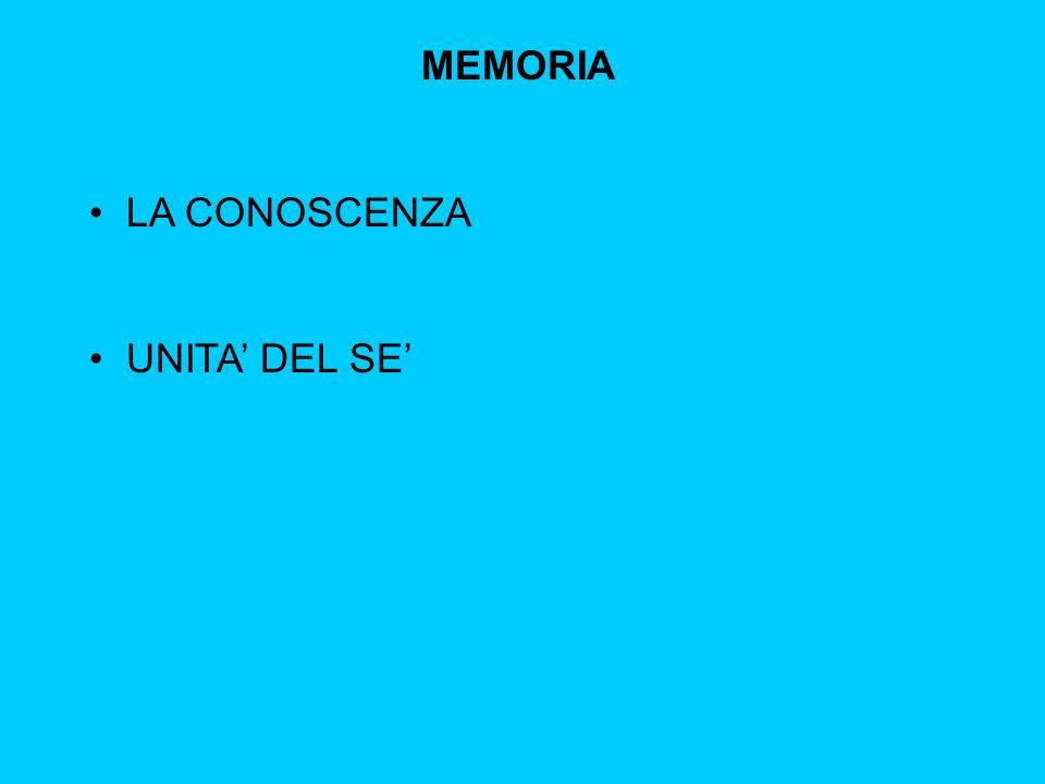 MEMORIA LA CONOSCENZA UNITA' DEL SE'
