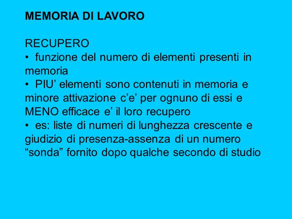 MEMORIA DI LAVORO RECUPERO. funzione del numero di elementi presenti in memoria.