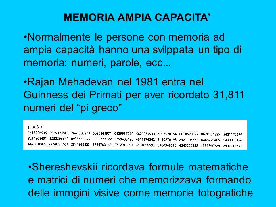 MEMORIA AMPIA CAPACITA'