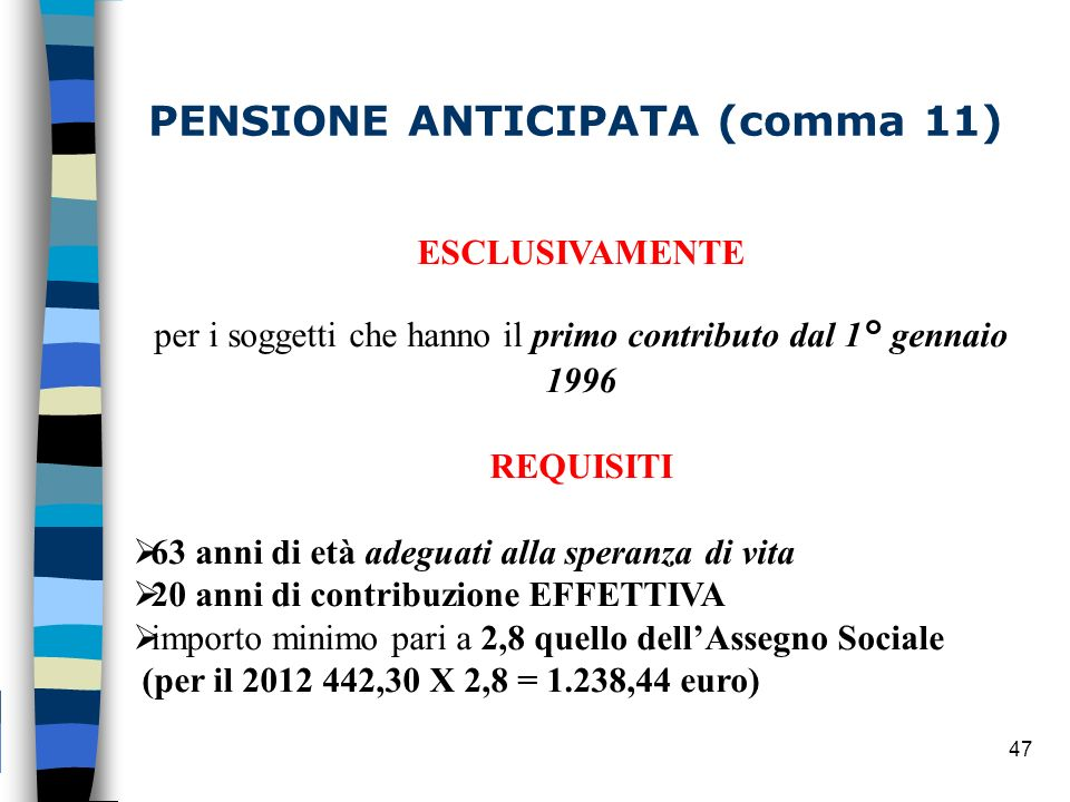 PENSIONE ANTICIPATA (comma 11)