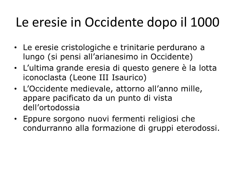 Le eresie in Occidente dopo il 1000