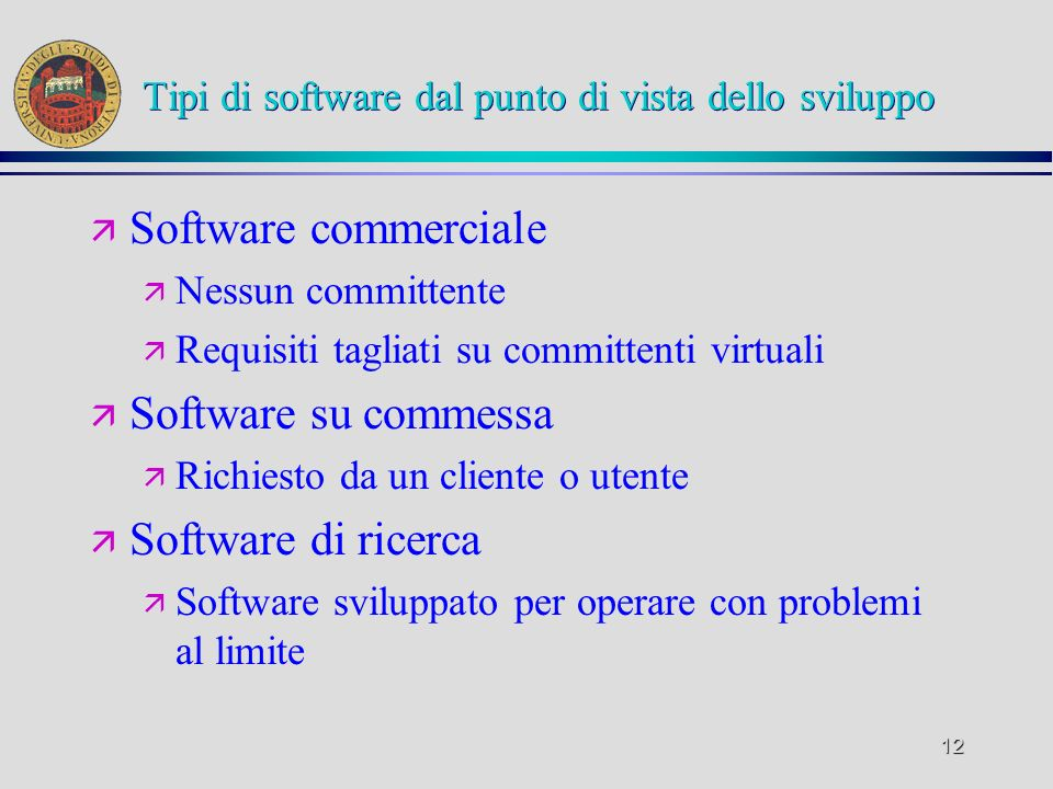Tipi di software dal punto di vista dello sviluppo