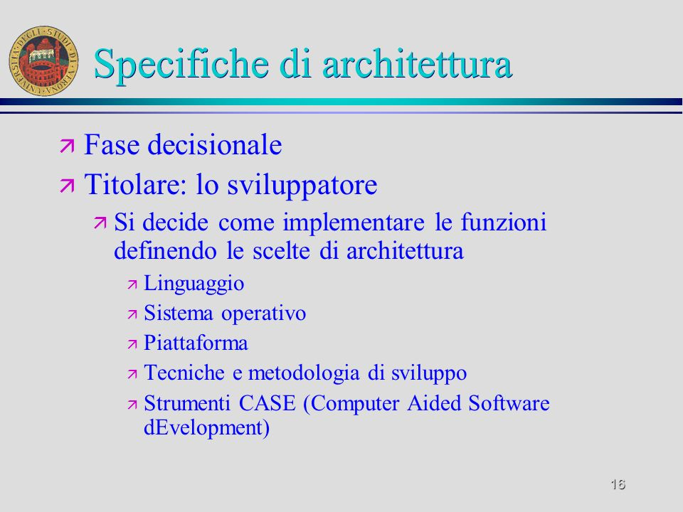 Specifiche di architettura