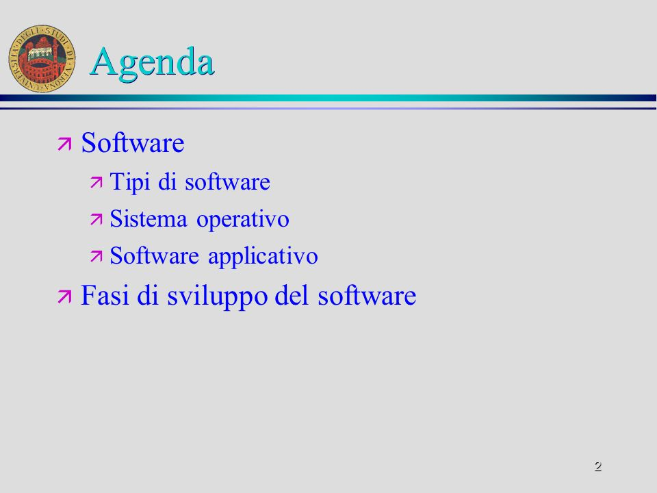 Agenda Software Fasi di sviluppo del software Tipi di software