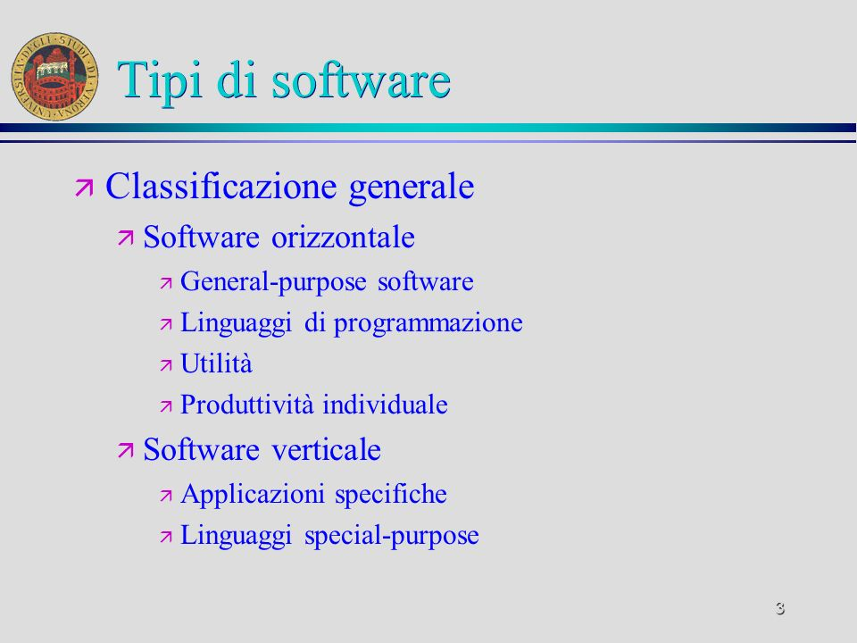 Tipi di software Classificazione generale Software orizzontale