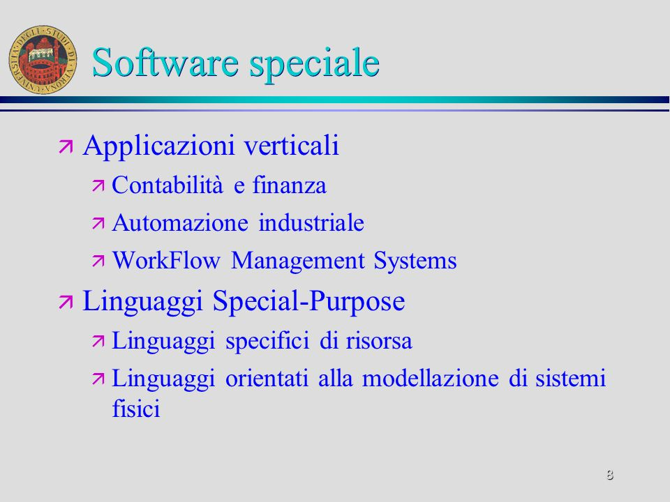Software speciale Applicazioni verticali Linguaggi Special-Purpose