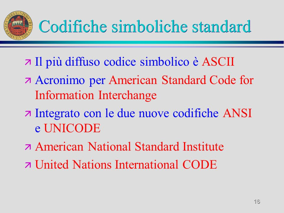 Codifiche simboliche standard