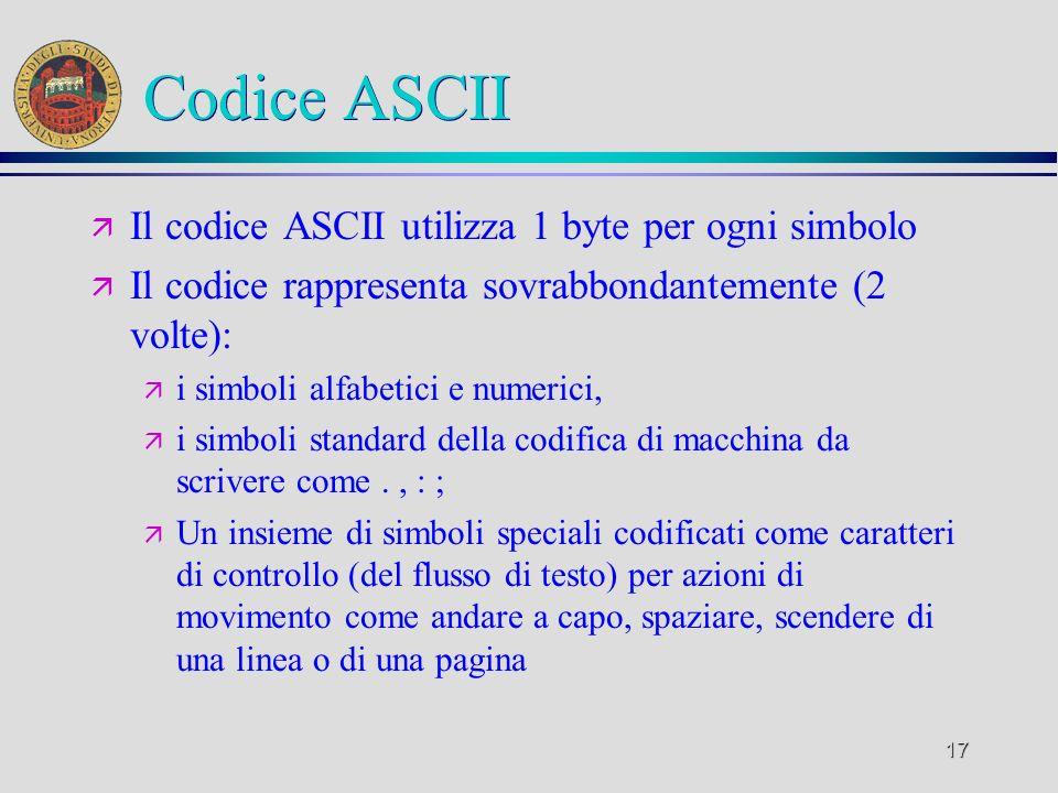 Codice ASCII Il codice ASCII utilizza 1 byte per ogni simbolo