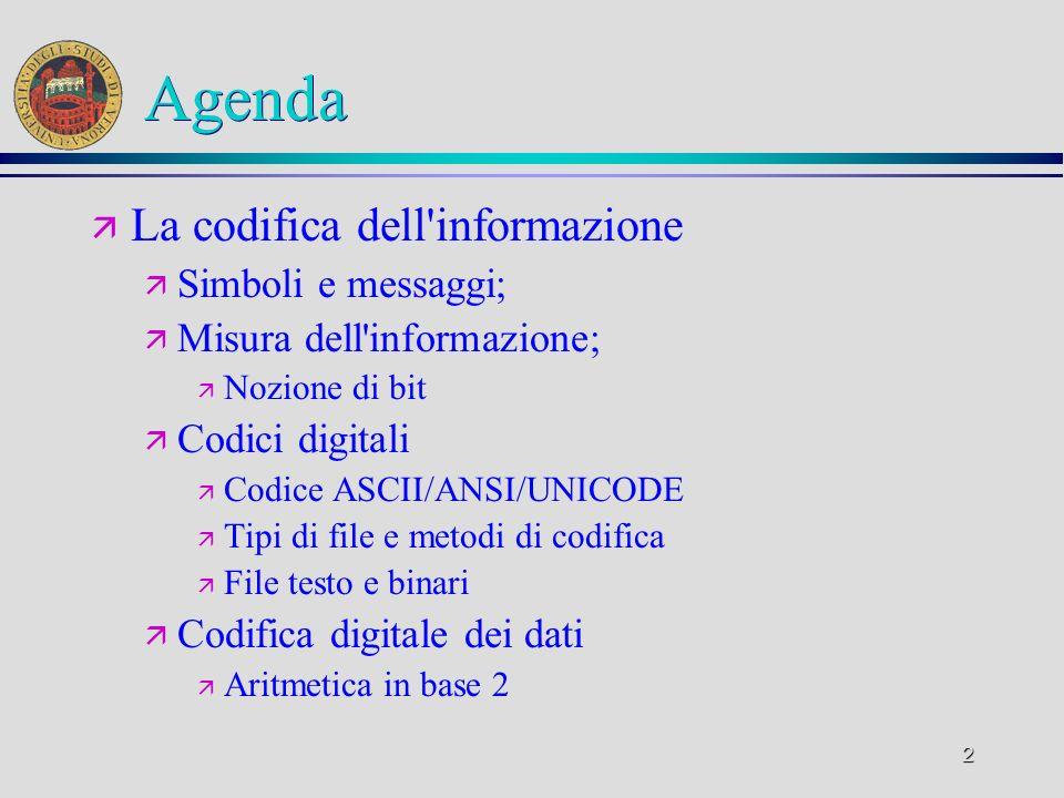 Agenda La codifica dell informazione Simboli e messaggi;