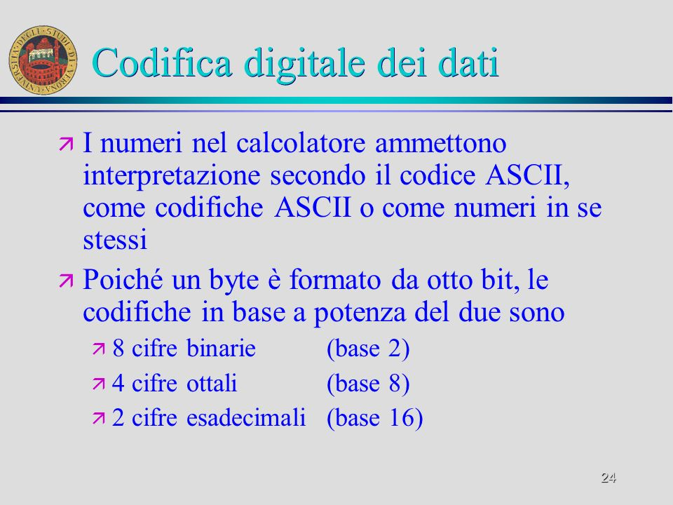 Codifica digitale dei dati