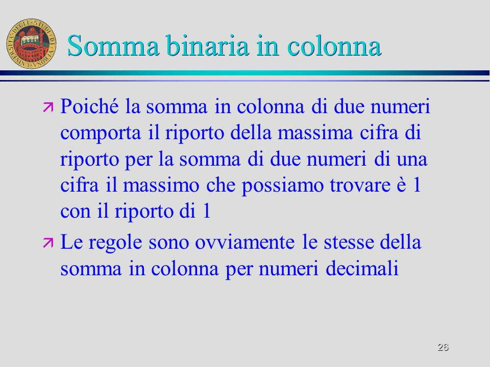 Somma binaria in colonna