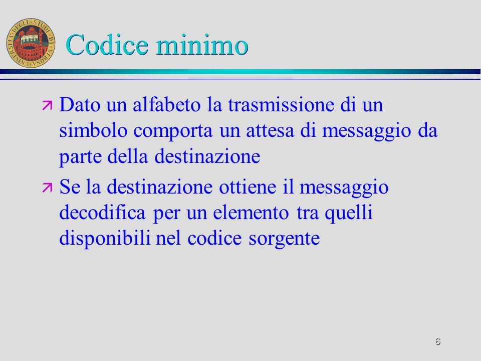 Codice minimo Dato un alfabeto la trasmissione di un simbolo comporta un attesa di messaggio da parte della destinazione.