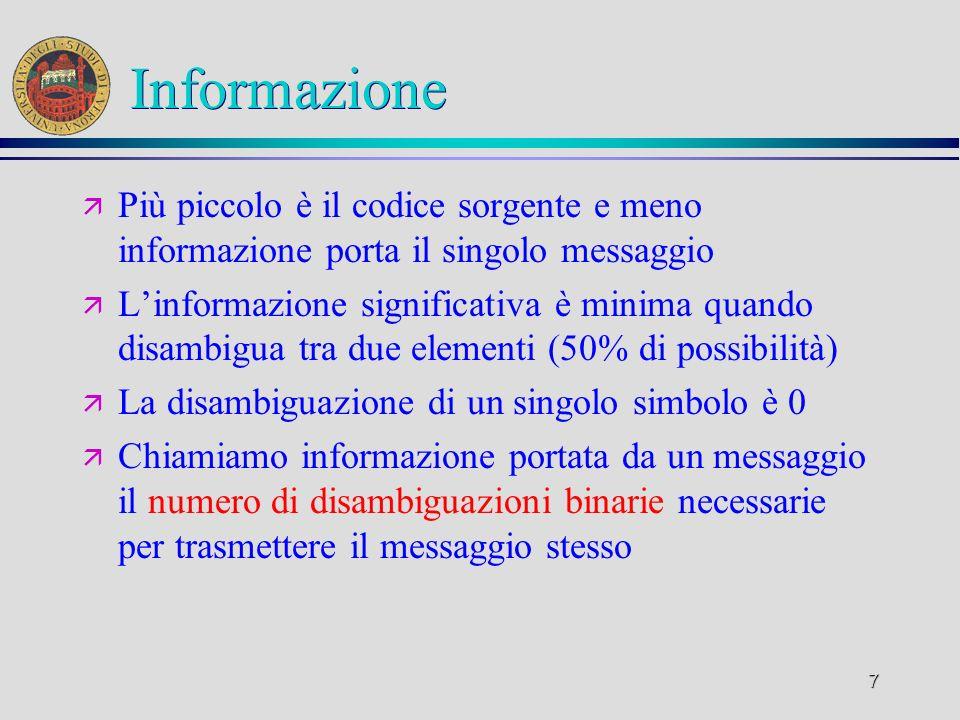 Informazione Più piccolo è il codice sorgente e meno informazione porta il singolo messaggio.