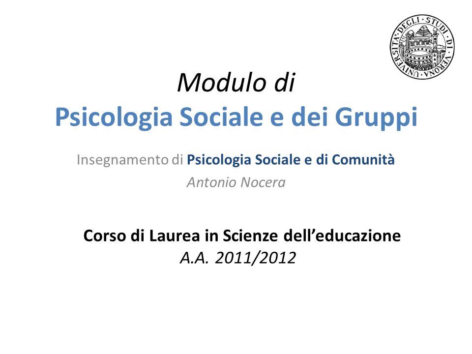 Modulo di Psicologia Sociale e dei Gruppi