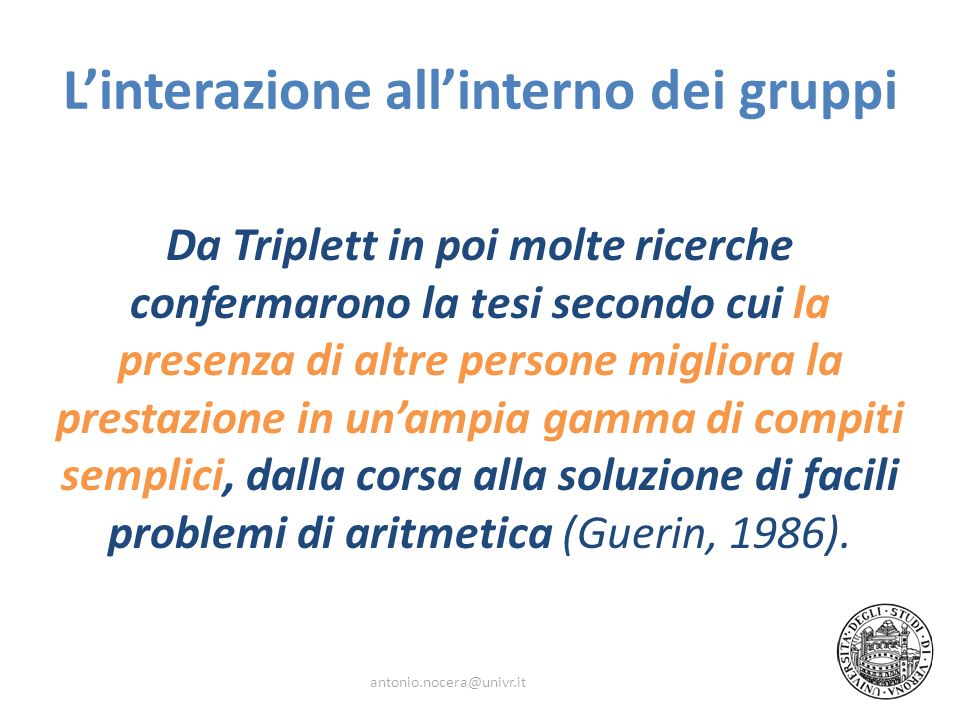 L'interazione all'interno dei gruppi
