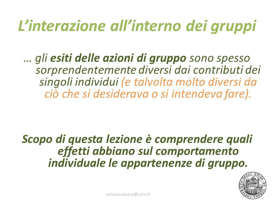 L'interazione all'interno dei gruppi