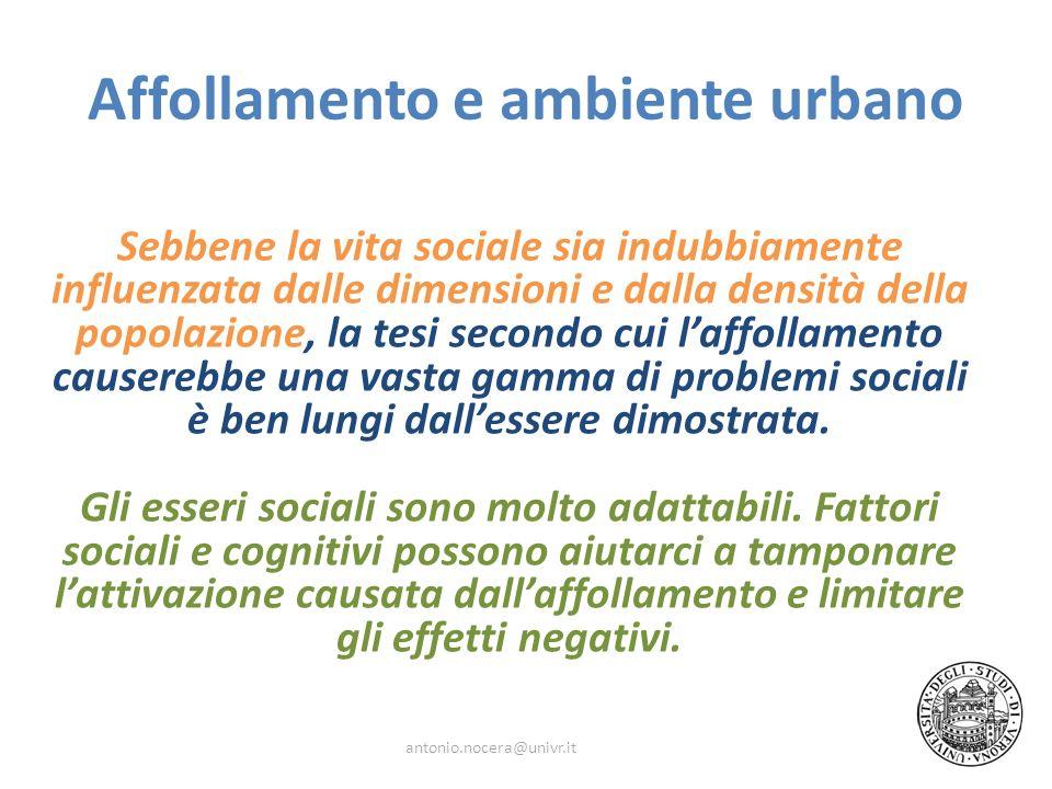 Affollamento e ambiente urbano