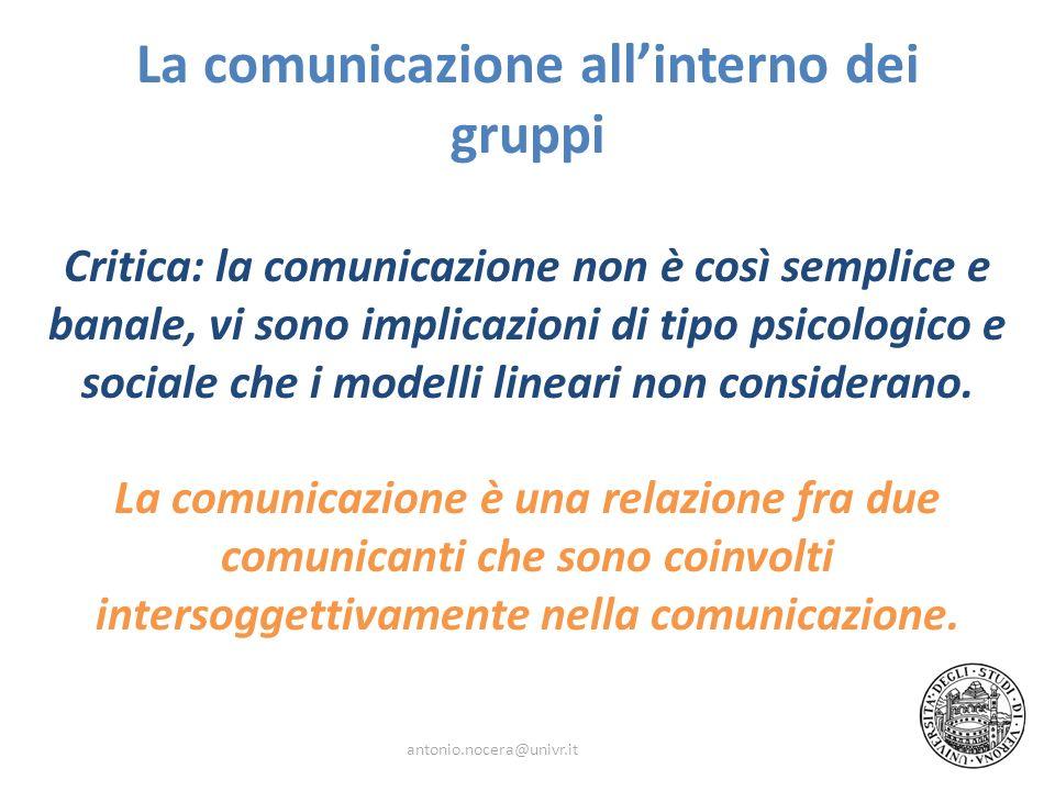 La comunicazione all'interno dei gruppi