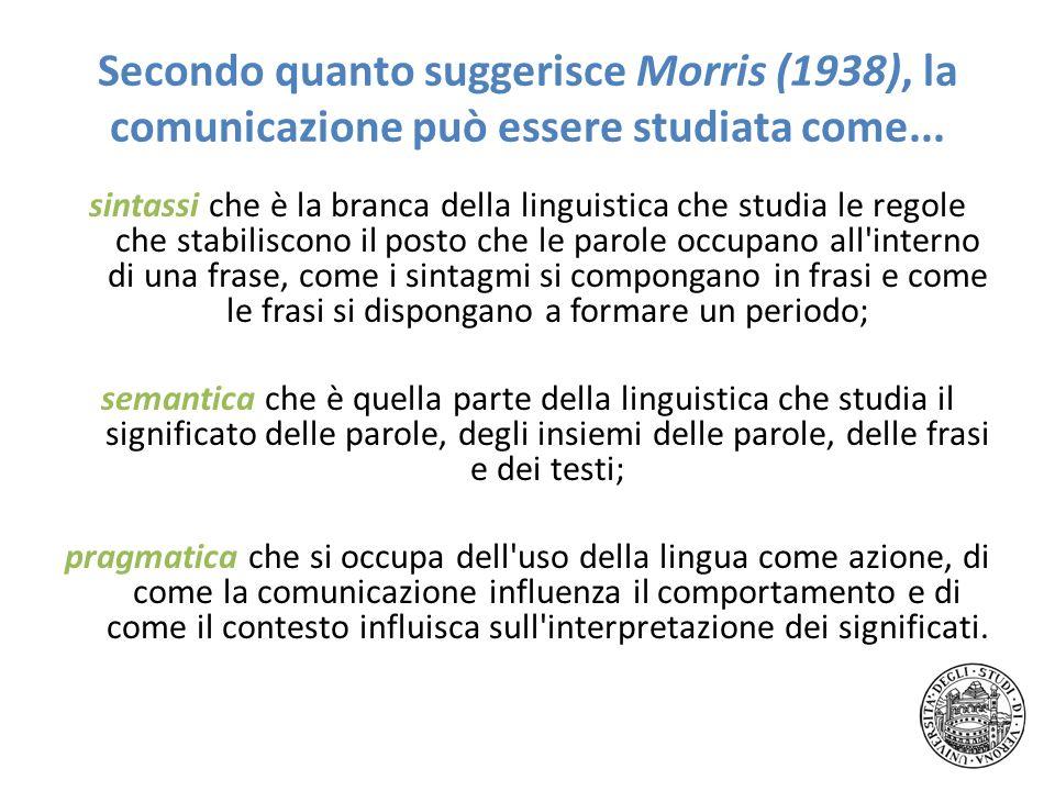 Secondo quanto suggerisce Morris (1938), la comunicazione può essere studiata come...
