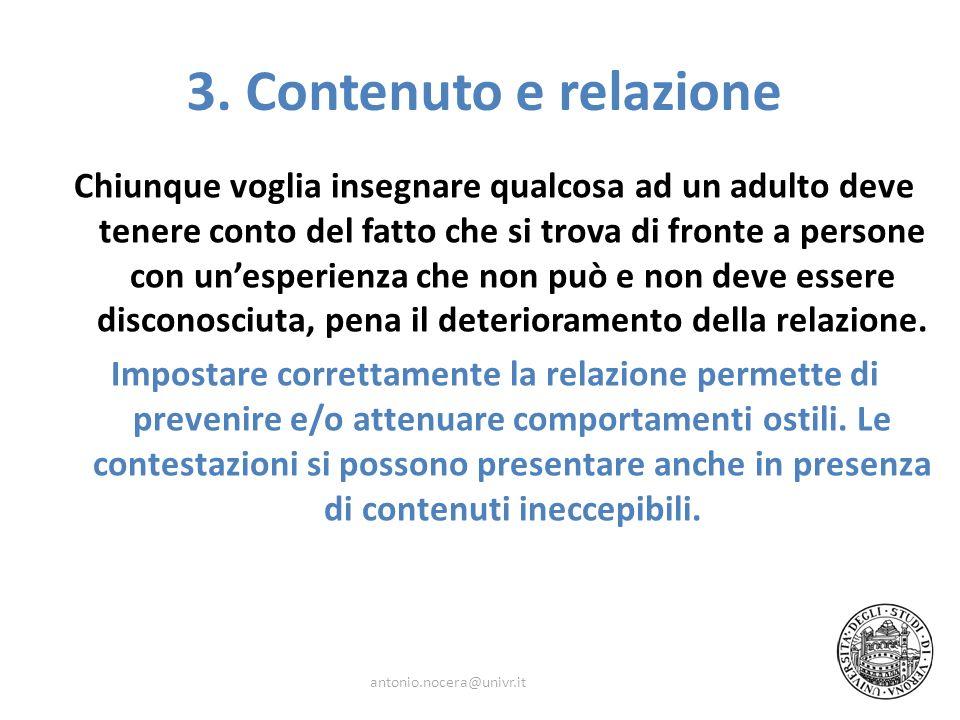 3. Contenuto e relazione