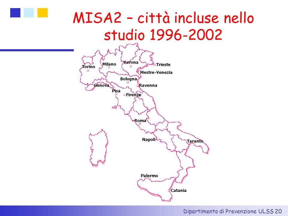 MISA2 – città incluse nello studio 1996-2002