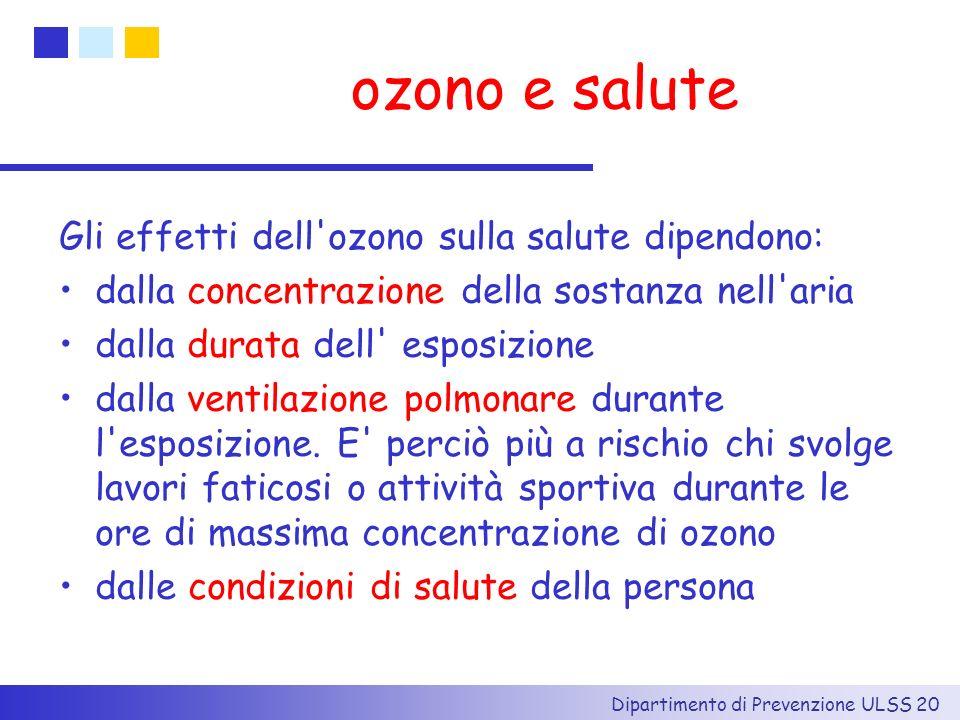 ozono e salute Gli effetti dell ozono sulla salute dipendono: