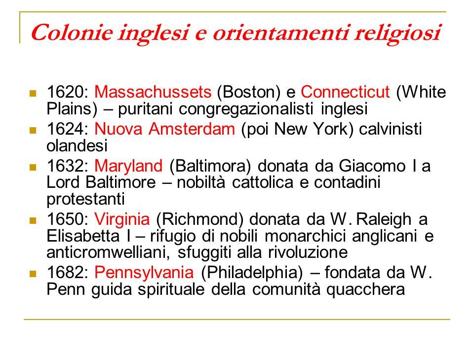 Colonie inglesi e orientamenti religiosi
