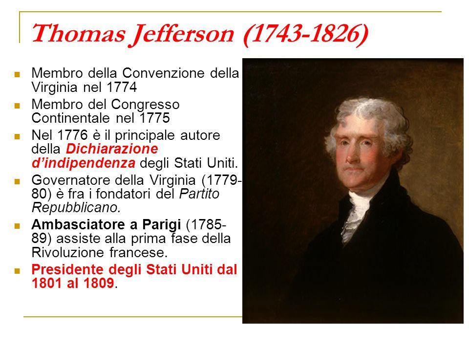 Thomas Jefferson (1743-1826) Membro della Convenzione della Virginia nel 1774. Membro del Congresso Continentale nel 1775.