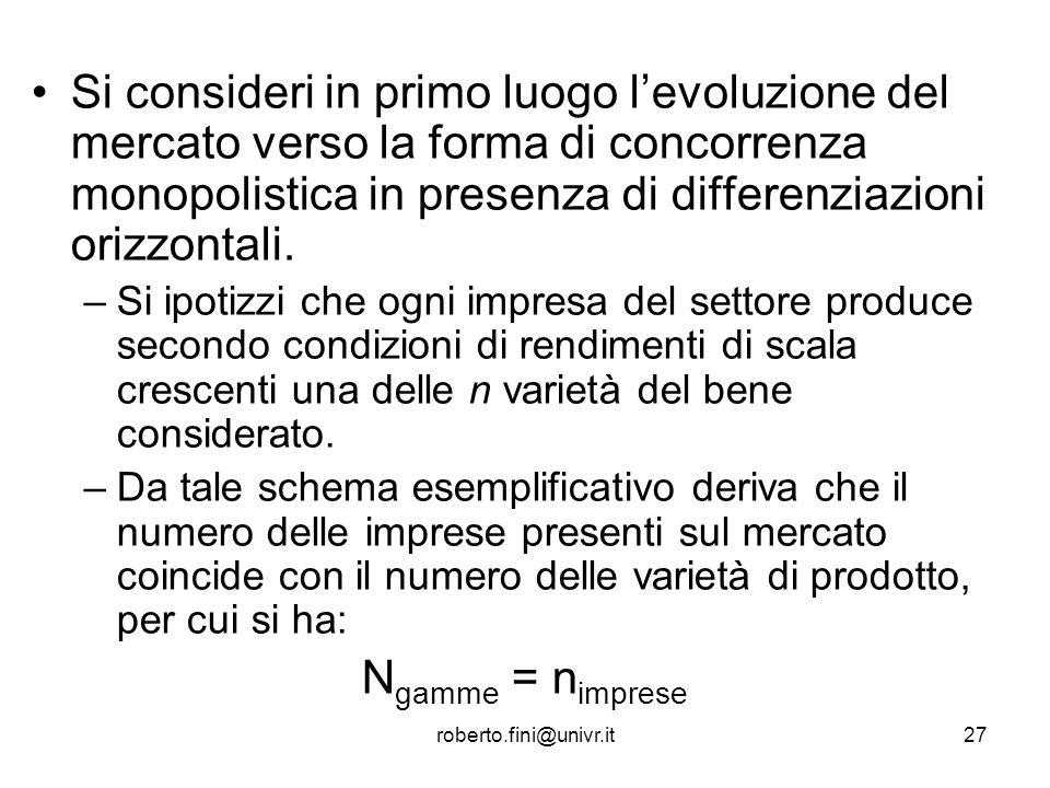 Si consideri in primo luogo l'evoluzione del mercato verso la forma di concorrenza monopolistica in presenza di differenziazioni orizzontali.