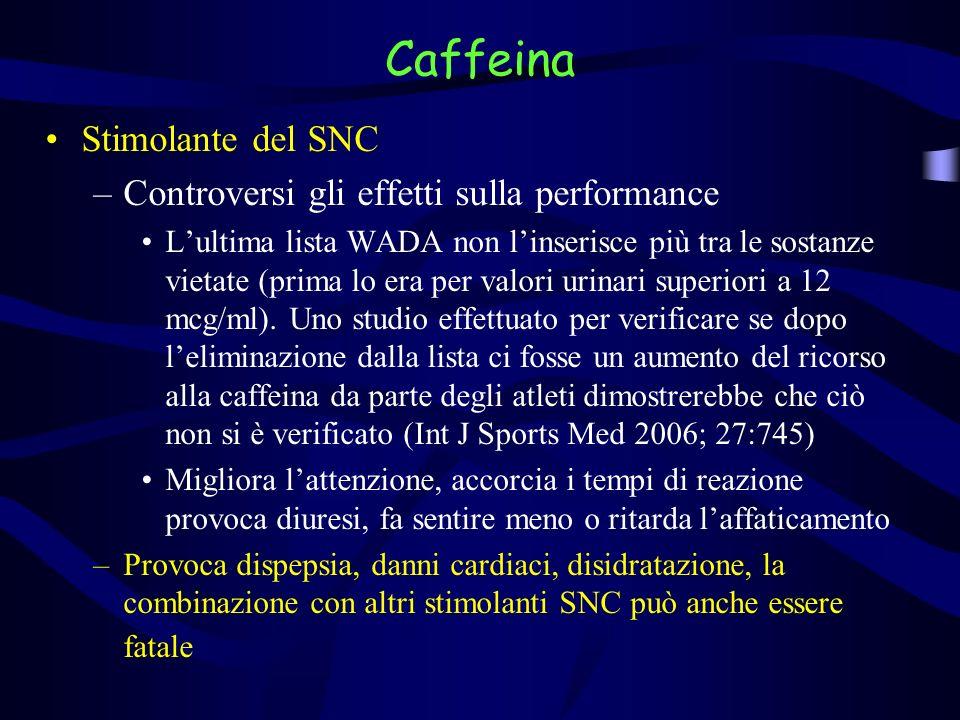 Caffeina Stimolante del SNC Controversi gli effetti sulla performance