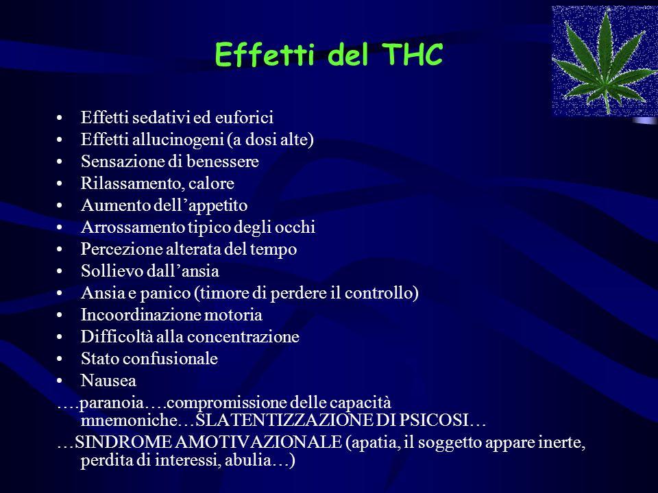 Effetti del THC Effetti sedativi ed euforici