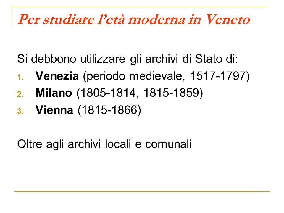 Per studiare l'età moderna in Veneto
