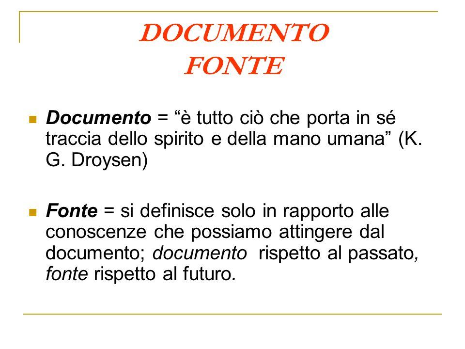 DOCUMENTO FONTE Documento = è tutto ciò che porta in sé traccia dello spirito e della mano umana (K. G. Droysen)