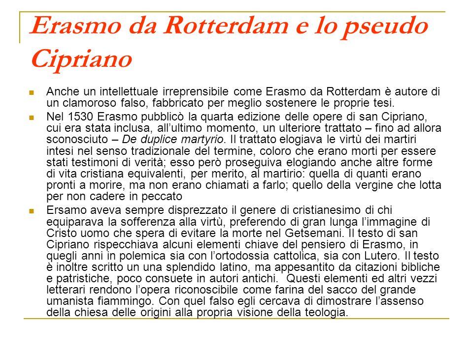 Erasmo da Rotterdam e lo pseudo Cipriano