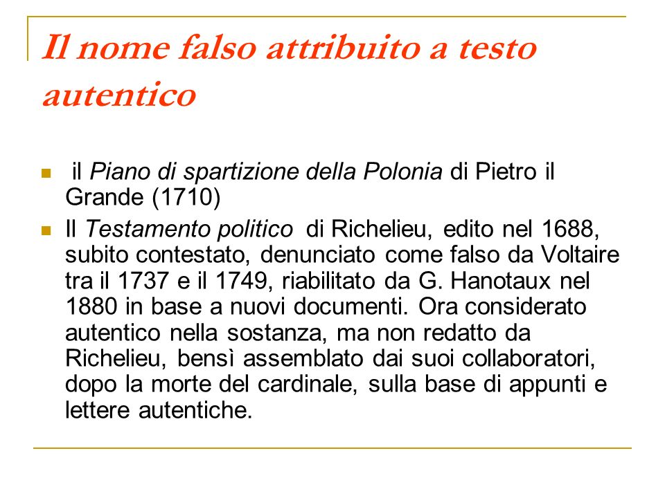 Il nome falso attribuito a testo autentico