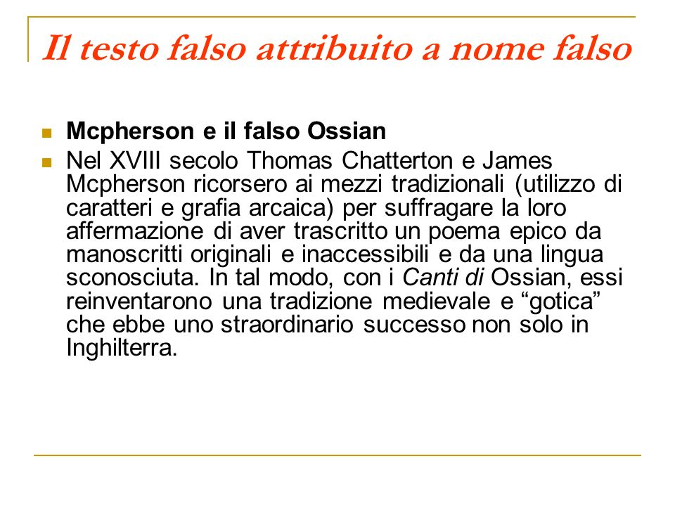 Il testo falso attribuito a nome falso