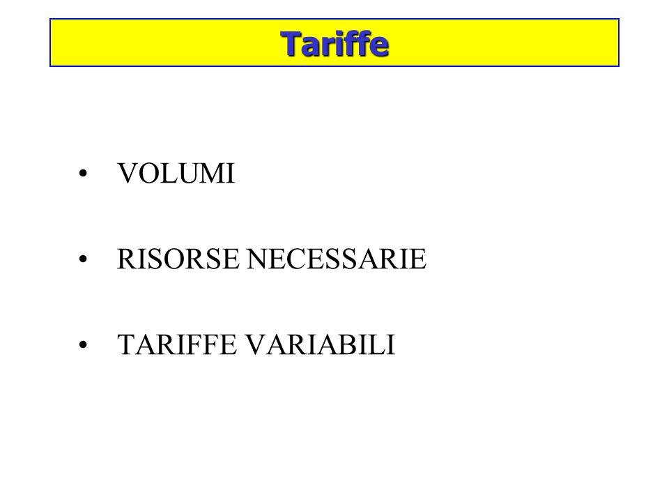 Tariffe VOLUMI RISORSE NECESSARIE TARIFFE VARIABILI