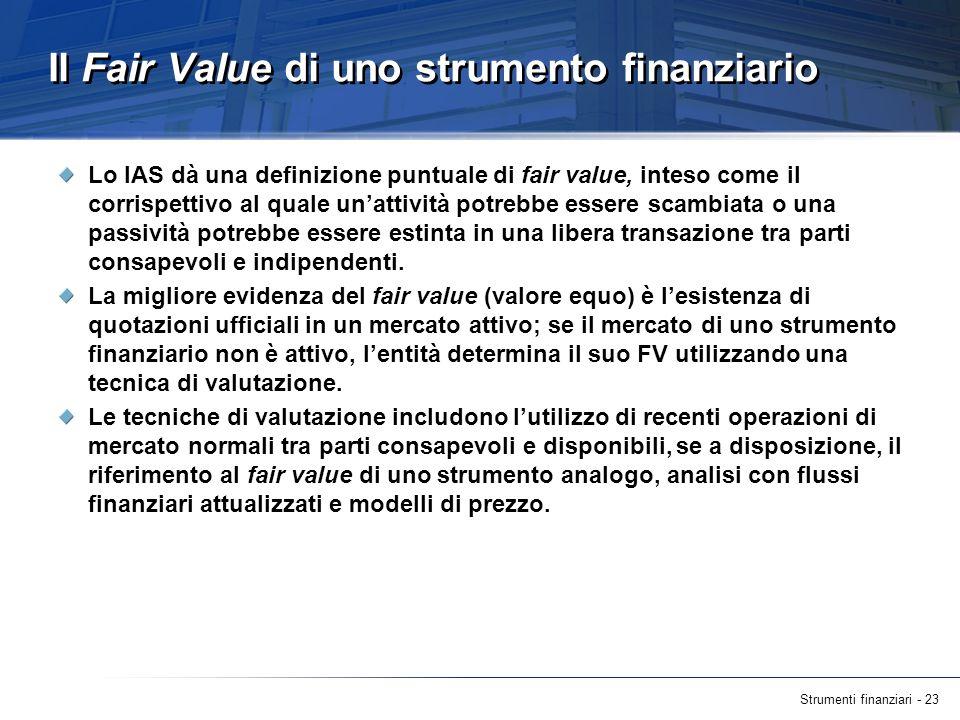 Il Fair Value di uno strumento finanziario
