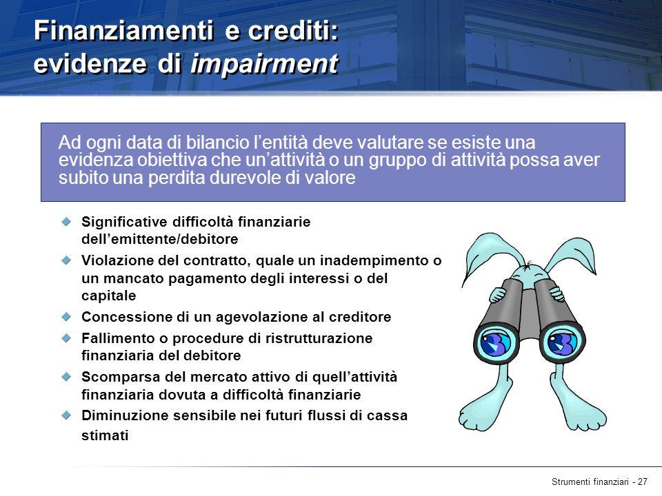 Finanziamenti e crediti: evidenze di impairment