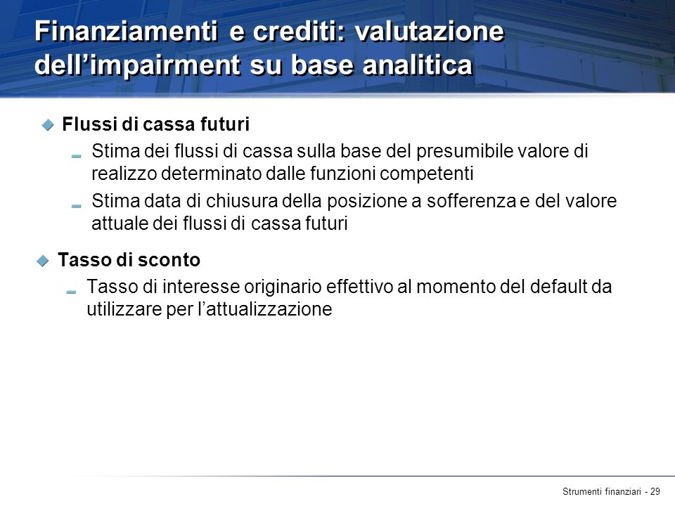 Finanziamenti e crediti: valutazione dell'impairment su base analitica