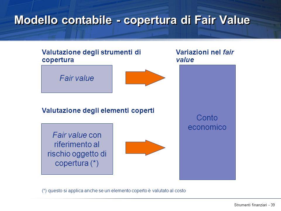 Modello contabile - copertura di Fair Value