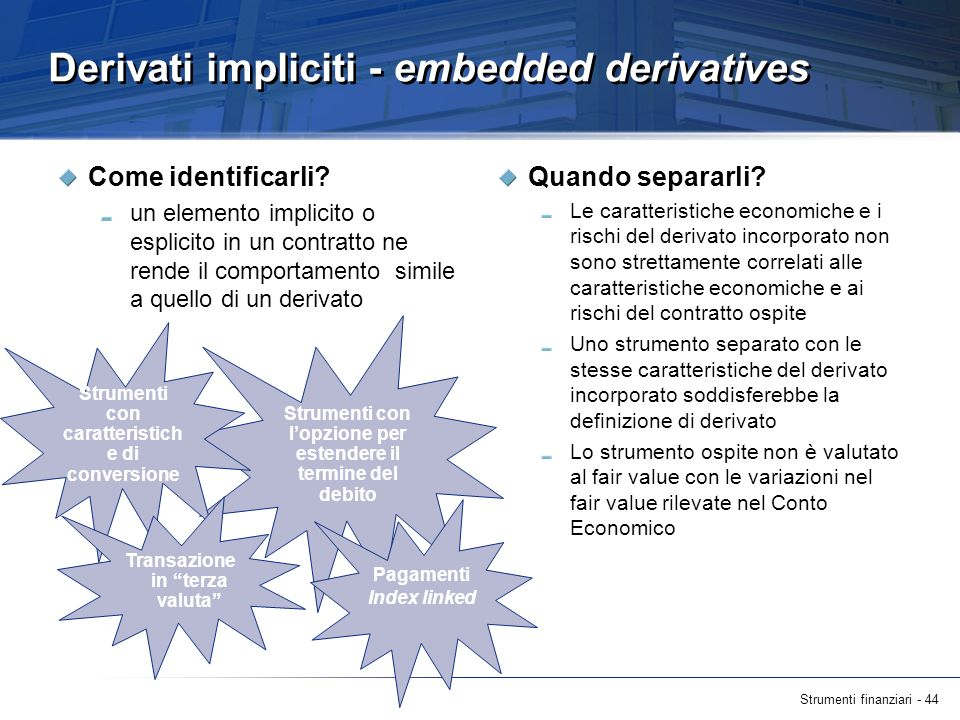 Derivati impliciti - embedded derivatives
