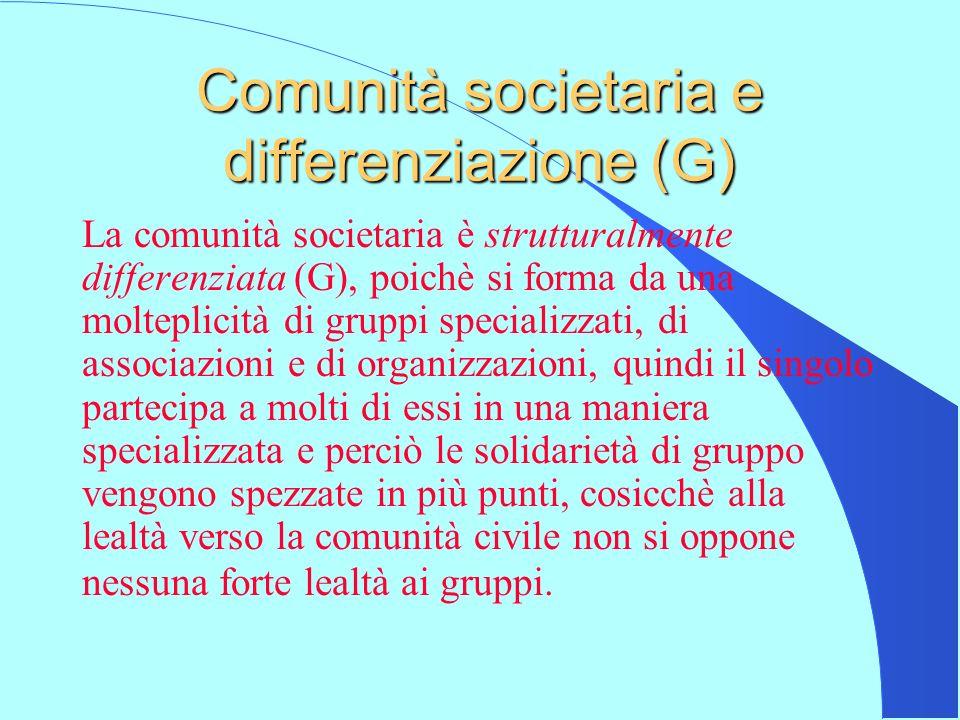 Comunità societaria e differenziazione (G)