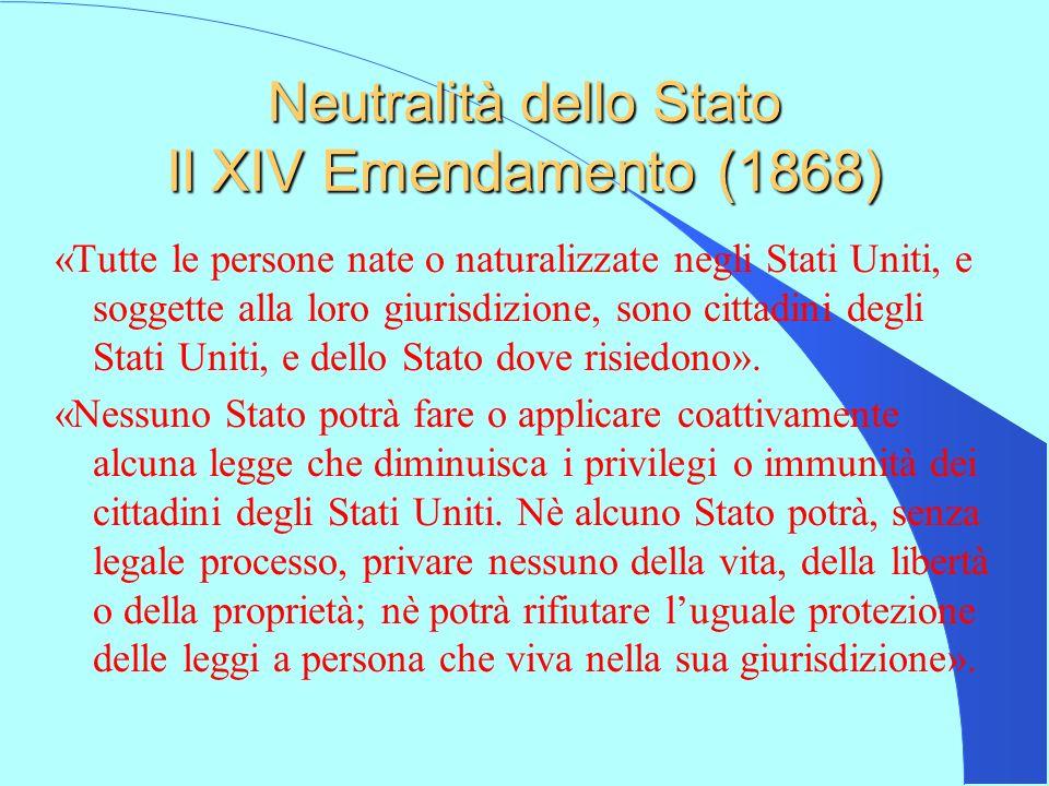 Neutralità dello Stato Il XIV Emendamento (1868)