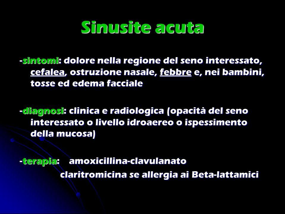 Sinusite acuta -sintomi: dolore nella regione del seno interessato, cefalea, ostruzione nasale, febbre e, nei bambini, tosse ed edema facciale.
